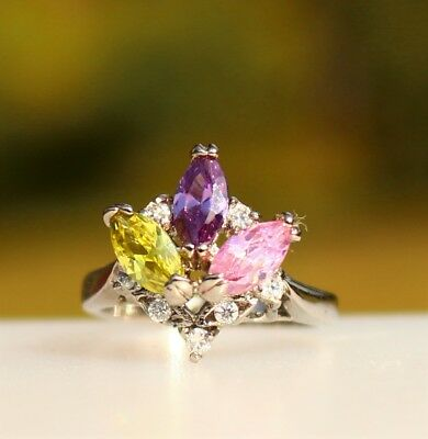 Purple pink and yellow navette CZ stones silver tone  RING size 6