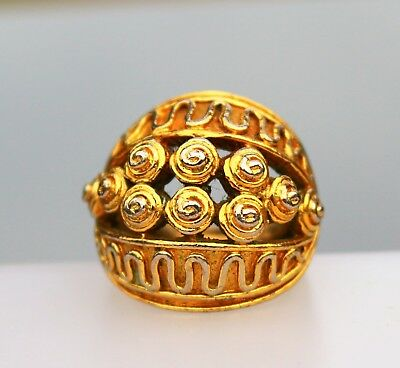 Gold tone large with ornate roses adjustbale RING size 7 slight wear