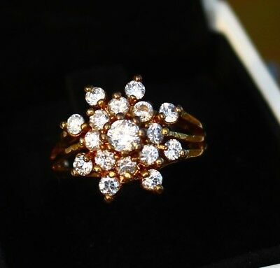 Gold tone clear CZ stones snowflake design RING size 5.5
