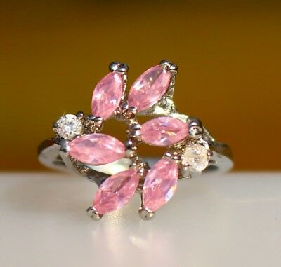 Pink 6 navette CZ stones silver tone  RING size 7