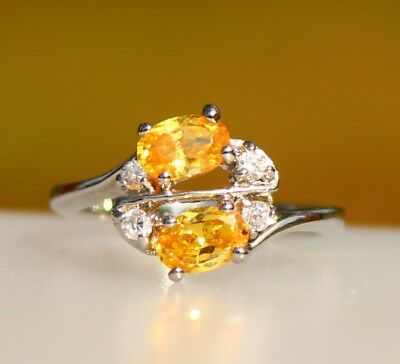 Silver tone yellow and clear CZ stones cluster RING size 6