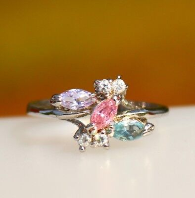 Purple pink blue CZ - faux gemstones silver tone   RING size 9