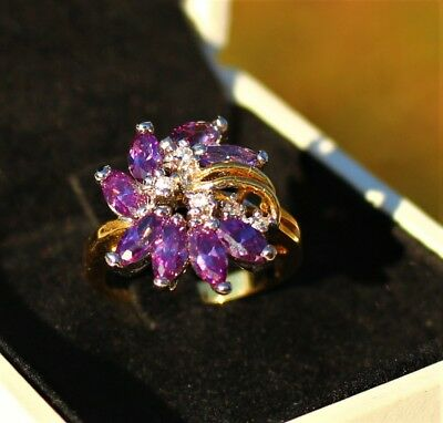 Gold and silver tone faux Amethyst - CZ stones cluster  RING size 5.5