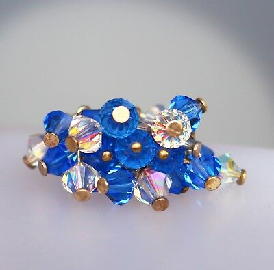 Blue and clear crystal bead cluster silver tone adj RING size 6