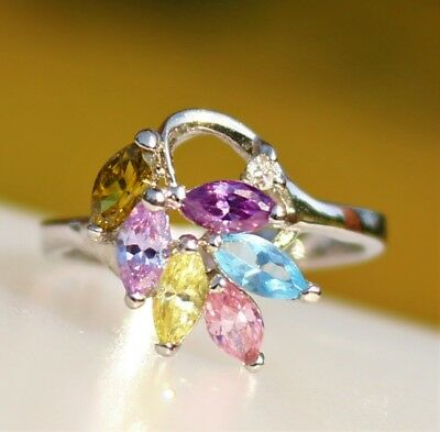 Purple blue yellow CZ stones cluster silver tone  RING size 8