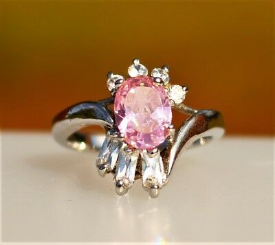 Pink oval with clear baguette CZ stones silver tone RING size 5.5
