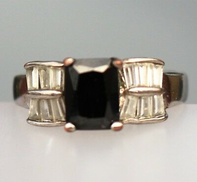 Silver tone black and clear glass cz stones RING size 8