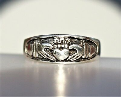 Silver tone embossed hands with heart  RING size 14