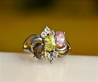 Olivine yellow pink CZ oval stones silver tone  RING size  6