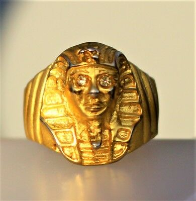 Eqyptian revival style ornate gold tone clear rhinestones  RING size 6