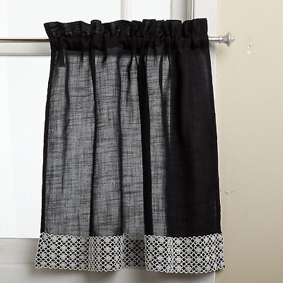 "60x24"" Window Curtains Pair With Lace Border For Bathroom Kitchen Decor Black"