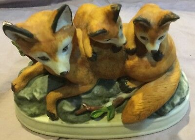Mom and Cubs Red  Fox Figurine