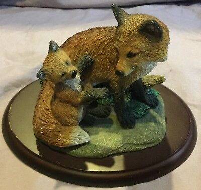 Mom and Cub Fox Figurine Generations by Living Stone