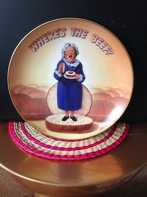 WHERE'S THE BEEF COLLECTORS PLATE of CLARA PELLER VINTAGE WENDY'S ADVERTISING