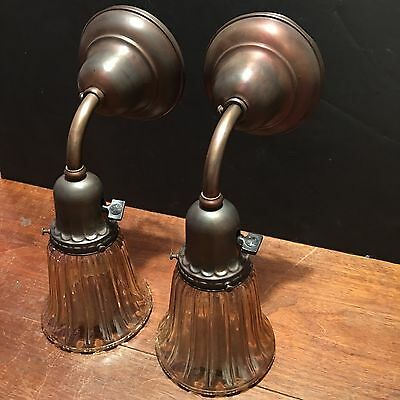 Wired Matched Pair Antique Brass Industrial Wall Sconce Fixtures 1E