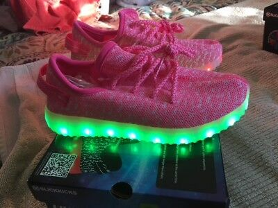 New SLICKKICKS PRISM Multi-Color LED LIGHT UP Shoes Pink Youth Girls Sz 2