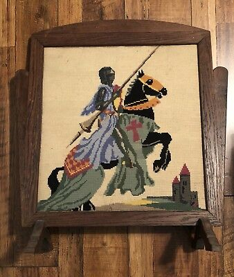 Vtg Knight Jousting Medieval Needlepoint Wood Fireplace Screen