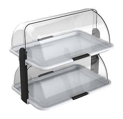 double-decker countertop bakery display case, white