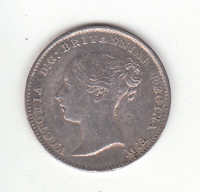 1868 Great Britain Queen Victoria Sterling Silver Threepence.  High Grade.