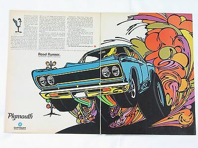 1968 2-Page Plymouth Road Runner Animated Print Advertisement