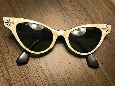 VINTAGE 1950`s ORIGINAL  B&L RAY BAN MOTHER OF PEARL CAT EYE SUNGLASSES