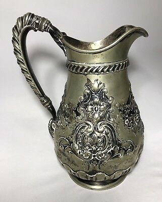 1891 Gorham SHERRY Hotel NY Silver Soldered Art Nouveau Floral Victorian Pitcher