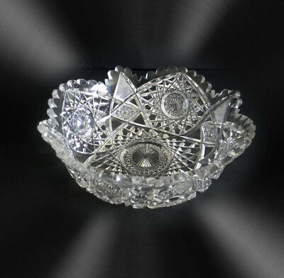 Hawkes  clear crystal LARGE hand bowl with sawtooth rim - FREE SHIPPING