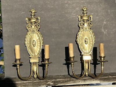 2 Antique French Brass Wall Sconces 2 Candles Each