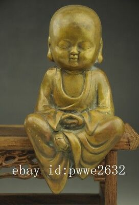 Chinese old Buddhism Temple Brass Copper Monk meditation statue