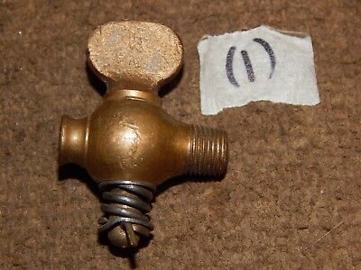 "Antique Small Brass Drain Valve, Petcock Hit-Miss Gas Engine Automobile 1/8"" MIP"
