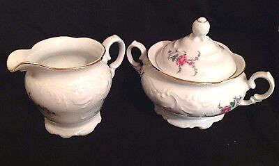 Royal Kent Creamer & Sugar Porcelain RK Set Pink Gold Floral made in Poland MINT