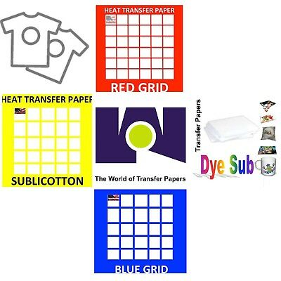 TRANSFER PAPER Combo 100 Sh Each Sublipaper, Sublicotton,Dark & Red Grid 8.5x11""