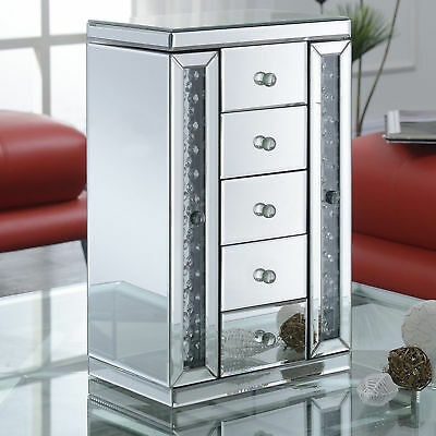 Mirrored Jewelry Box With 5 Drawers Storage Organizer Ring Necklace Case Holder