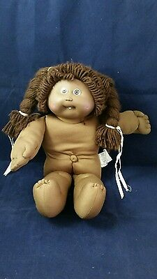 80's Cabbage Patch Kid Girl Brown Skin Brown Hair Tooth Showing Red Signature