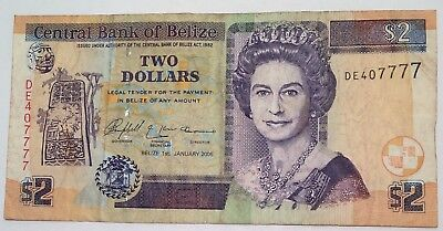 BELIZE Two 2 Dollars 2005 Foreign Paper Money Banknote