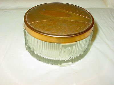 Vintage Vanity Art Deco Footed Glass Powder Jar Brass Lid Ribbed Lines Tulips