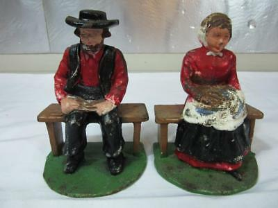 A Pair of Vintage Amish Bookends, Cast Iron Bookends, Farm Bookends
