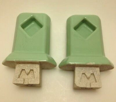 Pair of Vintage Ceramic Green Bath Fixture Towel Bar Brackets Holders NOS