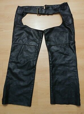 Leather Riding Chaps Unisex XL X-Large HD Black Leather - Short GUC