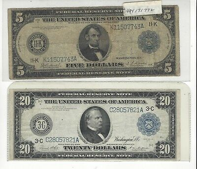 1914 Two Big Notes $20.00 & $5.00 Win Both