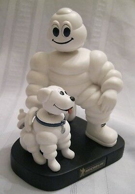 "Michelin Man and Dog Bobble Head Tire Promotional 7"" Display Figurine"