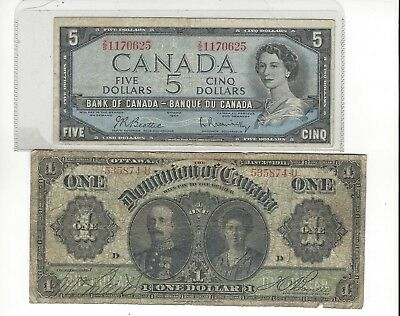 1911  Dominion of Canada dollar & 5. WIN TWO notes very OLD  & scarce