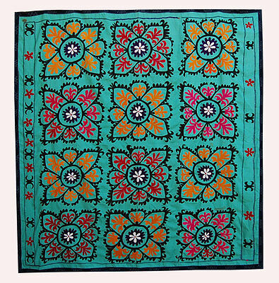 Large Uzbek Hand Embroidered Silk Suzani Of Samarkand Top-116
