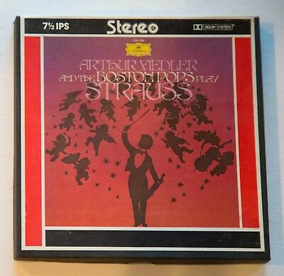 """Arthur Fiedler and Boston Pops play Strauss Dolby 7"""" Reel Tape 7 1/2 ips TESTED"""