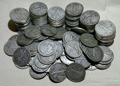 Lot of 10 Walking Liberty Half Dollars (Random Dates 1940-1947) - Free Shipping!