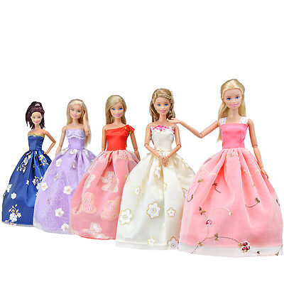 E-TING 5 Pcs Princess Clothes Wedding Dress Party Gown Outfit for Barbie Doll S