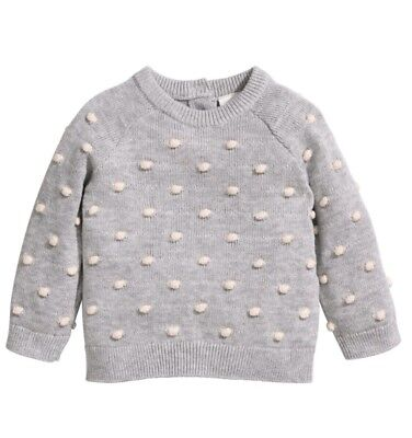 H&M Conscious baby girl textured pom knit sweater gray size 12-18 months