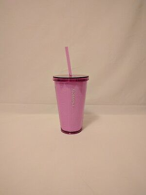 New Starbucks Cold Cup Embossed Pink Flowers 16oz