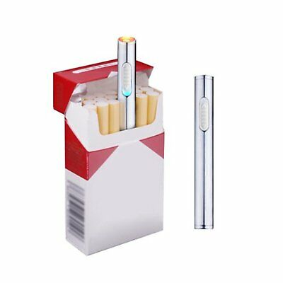 Mini Usb Cigarette Lighter Rechargeable Windproof Flameless Slim Electric Silver