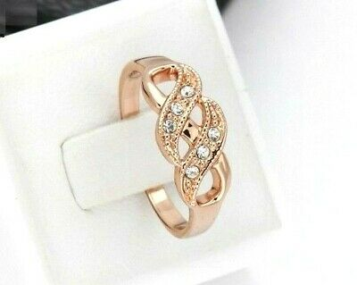 Infinity Engagement Bridal Rose Gold Plated Ring Flower Statement Cluster Gift